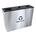 Metro Triple Stream Recycling Receptacles in Stainless Steel