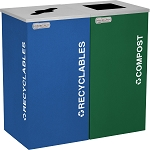 Two-Stream Square Kaleidoscope Recycling Container