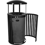 Streetscape Gated Trash Receptacle with Rain Hood