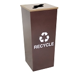 Metro Single Stream Recycling Receptacle in Hammered Copper