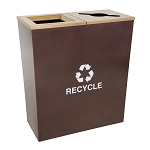 Metro Double-Stream Recycling Container in Hammered Copper