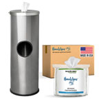 Stainless Steel Sanitizing Wipe Dispenser + HanoWipes Case Combo