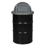 Parks and Recreation Steel Drum Container with Dome-Top Push Lid