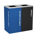 Kaleidoscope Two-Stream Square Recycling Container