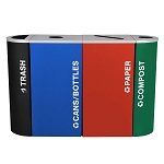 Kaleidoscope Four-Stream Combo Recycling Containers