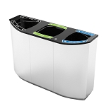 Wave Triple Stream Recycling and Waste Container