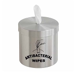 Wall Mounted Disinfecting Wipe Dispenser with Message in Satin Aluminum