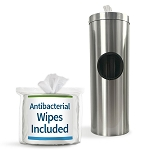 Satin Aluminum Cylinder Sanitizing Wipe & Waste in w/Free Wipes Roll
