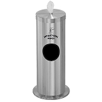 Disinfecting Wipe Dispenser w/Side Waste Opening & Message in Satin Aluminum