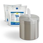 Wall Mounted Satin Aluminum Dispenser with 2-Rolls GermAway Antibacterial Wipes