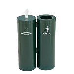 Wipe Dispenser w/Storage and Trash Receptacle Combo Station w/Messages in Designer Colors