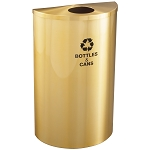 Glaro Half-Round Recycling Container in Satin Brass 16 Gallon