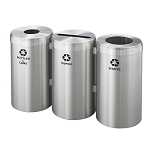 23-Gallon Glaro Three-Stream Recycling Station in Satin Aluminum