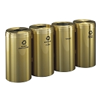 15-Gallon Glaro Four-Stream Recycling Station in Satin Brass