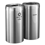 23-Gallon Glaro Two-Stream Recycling Station in Satin Aluminum - Custom