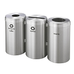 23-Gallon Glaro Three-Stream Recycling Station in Satin Aluminum - Custom