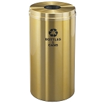 Glaro 16 Gallon Single Purpose Recycling Container in Satin Brass