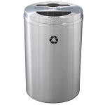 Glaro Dual Purpose Recycling Container - Satin Aluminum 33 Gallon