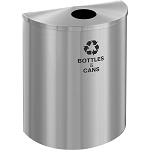 Glaro Single-Purpose Half-Round XL Recycling Container in Satin Aluminum