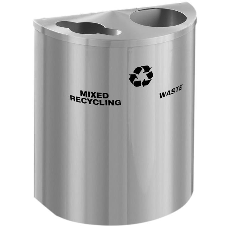 Glaro XL Dual Purpose Half Round Recycling Container In Satin Aluminum