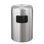 New Yorker Waste Receptacle with Flat Top in Satin Aluminum - 17 Gallon