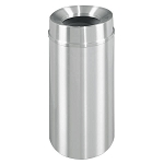 New Yorker Waste Receptacle with Funnel Top in Satin Aluminum- 6 Gallon