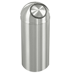 New Yorker Waste Receptacle with Self-Closing Dome-Top in Satin Aluminum - 16 Gallon