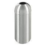 New Yorker Waste Receptacle with Open Dome Top in Satin Aluminum - 8 Gallon