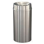 New Yorker Waste Receptacle with Tip Action Top in Satin Aluminum- 16 Gallon