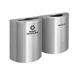 Glaro XL Half-Round Satin Aluminum Double Waste & Recycling Station - Custom