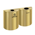 Glaro XL Half-Round Satin Brass Double Waste & Recycling Station - Custom