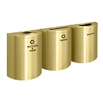 Glaro XL Half-Round Satin Brass Triple Waste & Recycling Station