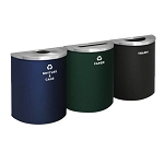 Glaro XL Half-Round Multi-Color Triple Waste & Recycling Station