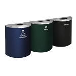 NYC Compliant Glaro XL Half-Round Multi-Color Triple Waste & Recycling Station