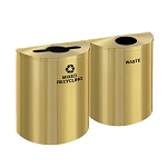 Glaro XL Half-Round Satin Brass Double Waste & Recycling Station