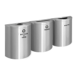 Glaro XL Half-Round Satin Aluminum Triple Waste & Recycling Station - Custom