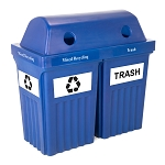 Recycle & Trash Bin IV Indoor-Outdoor Bin - Double in Blue