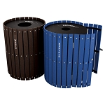 Two Stream Recycling and Waste Barrel Station with Hinged Doors - Custom
