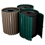 Three-Stream Recycling and Waste Barrel Station with Hinged Doors