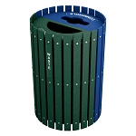 Split Two-Stream Recycling and Waste Barrel with Hinged Doors