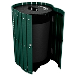 Posted Recycling and Waste Barrel with Hinged Door