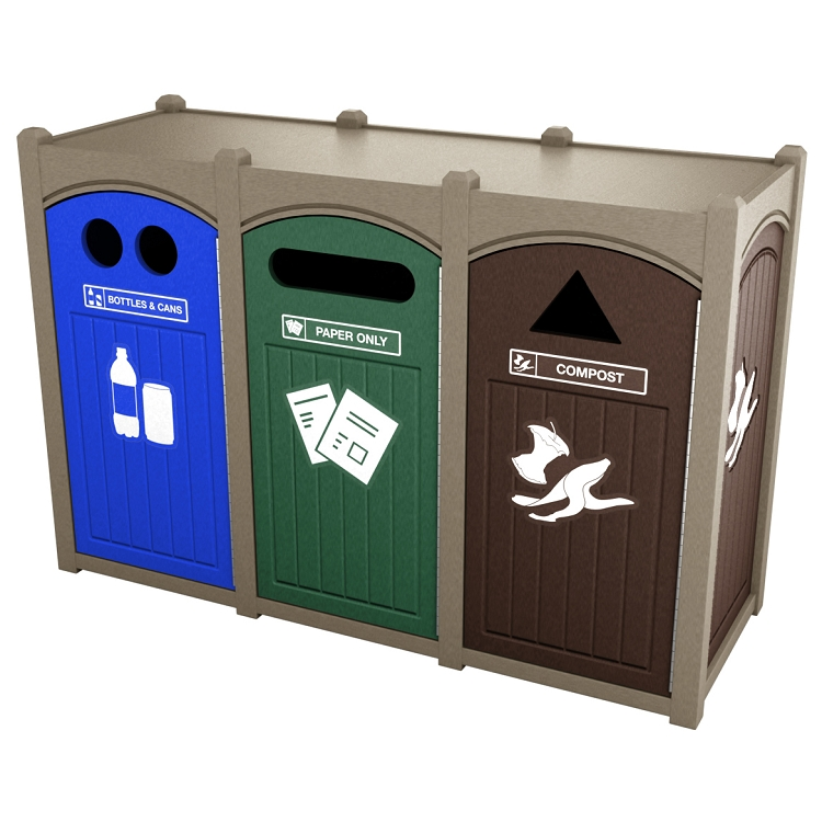 Dorset Sideload Triple Recycling Amp Trash Station Recycle