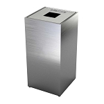 The Premier Single Recycling or Waste Bin - Brushed Aluminum