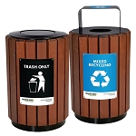 City Urban Hardwood Ipe Recycling and Waste Barrel Station