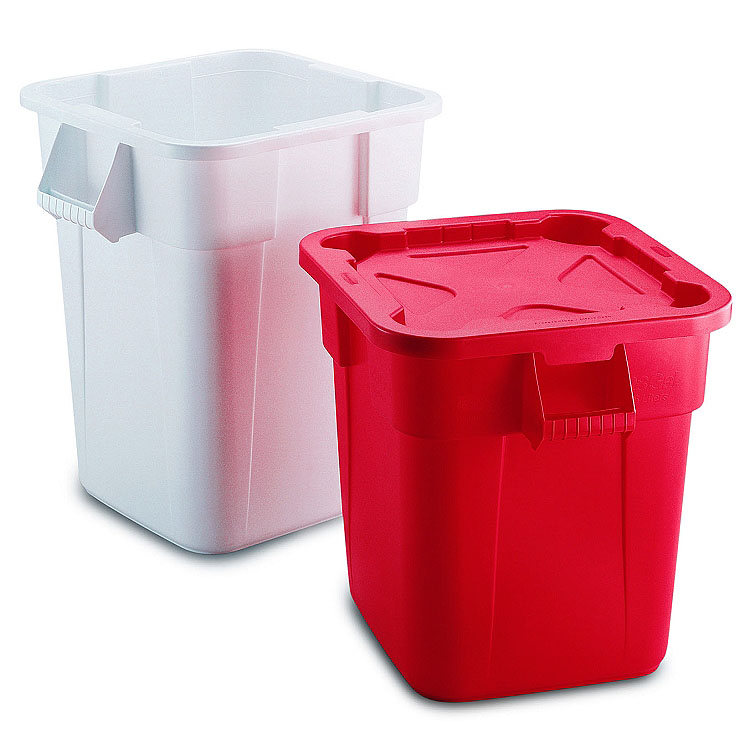 Rubbermaid BRUTE Square Container with Snap Lock Lid Recycle Away