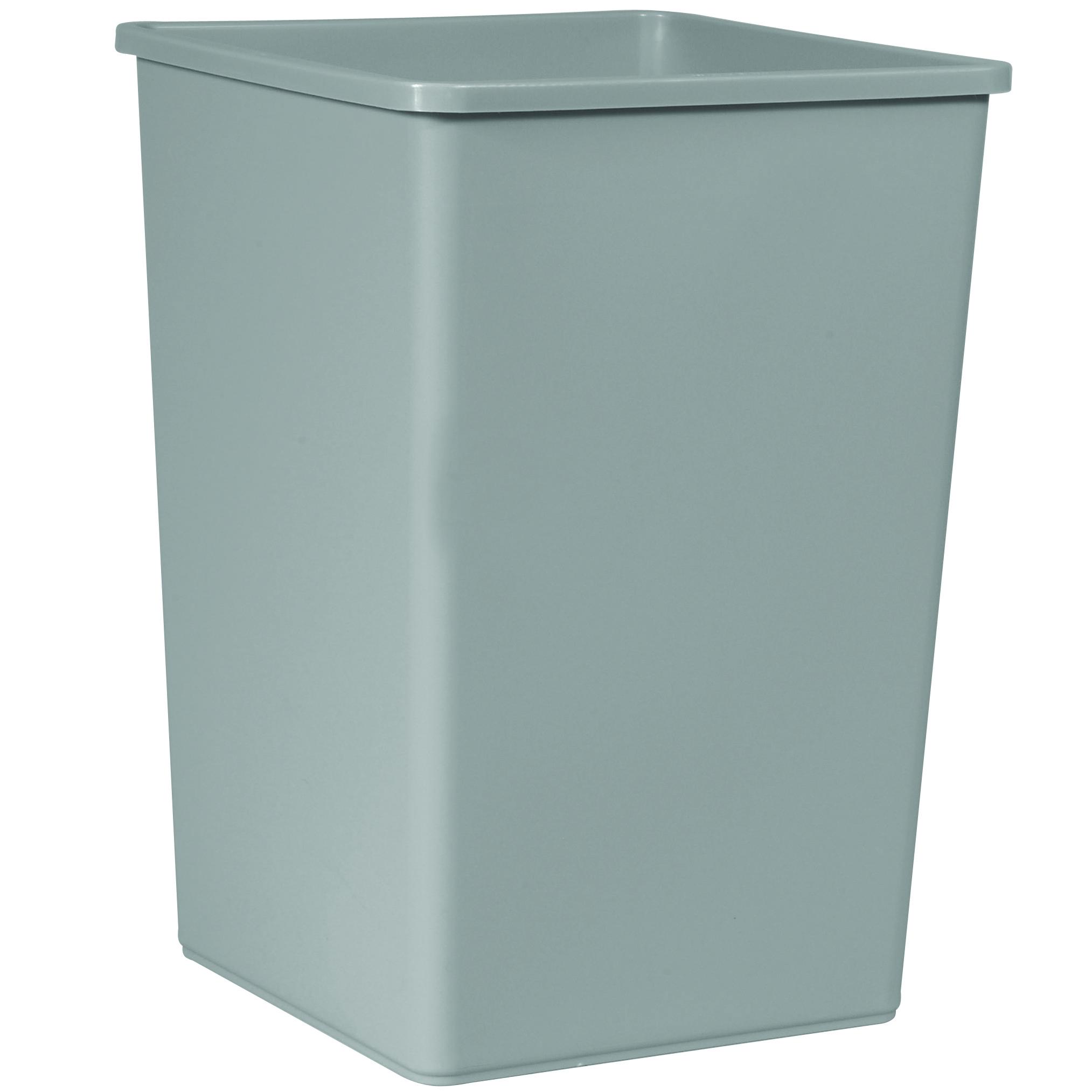 35 Gallon Rubbermaid Untouchable Square Trash Can Grey Beige