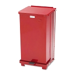 12 Gal Defenders Biohazard Square Steel Step-Can in Red