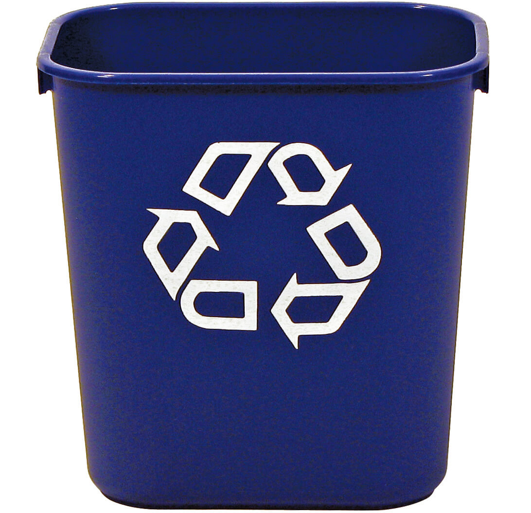 small 13 quart office recycling bin for deskside recycling recycle away. Black Bedroom Furniture Sets. Home Design Ideas