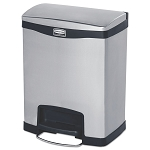 8 Gallon Stainless Steel Step-on Slim Jim in Black