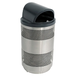 55 Gallon Outdoor Decorative Perforated Metal Trash Can with Hood Top